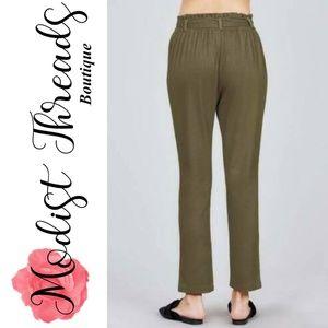 Modist Threads Pants - Green Paper Bag W/Bow Tie Long Linen Pants Size La